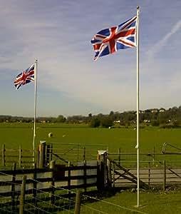Fahnenmast mit 2 Flaggen (Union Jack und England), aus Aluminium, 6 m