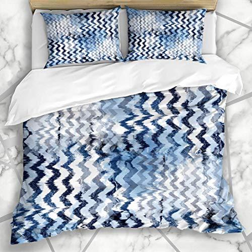 Soefipok Bettbezug-Sets Material Aquarell Camo Tiedye Indigo Abstraktes Muster Tarnung Blau Batik Retro Artistic Design Mikrofaser Bettwäsche mit 2 Kissenbezügen (Camo Tie Dye)