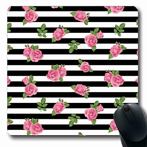 Luancrop Mousepads Grüne Frühlings-Rosen-Streifen-Muster-Sommer-Rosa-Zusammenfassungs-Schwarzes Ditsy Blumenblumen-Weiß-rutschfeste Spiel-Mausunterlage Gummi-längliche Matte -