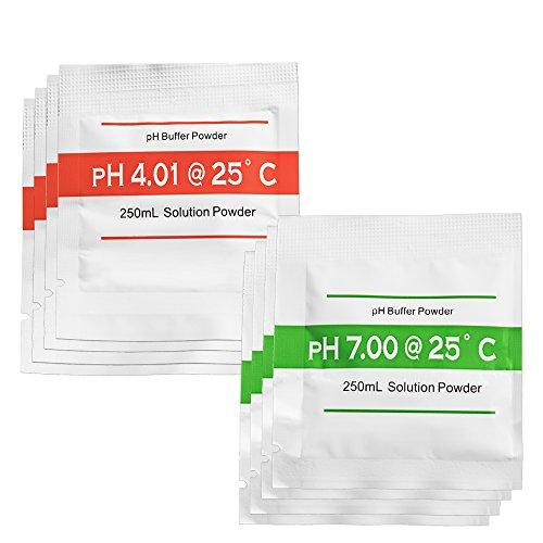 TROTEC Kalibrierpulver–Set (4x pH 4.00 und 4x pH 7.00) für pH-Messgeräte Wassertester pH-Wert Prüfer Schwimmbad Pool Aquarium (Ph-kalibrierflüssigkeit)