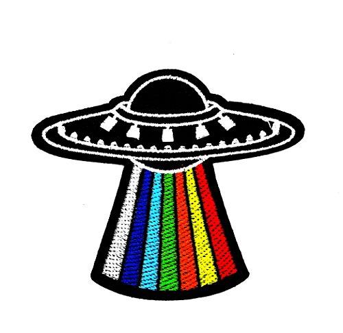 Little Bear Shop Cartoon Patches Uranus UFO Parche Bordado a Mano para niños con Dibujos de arcoíris y Espacio Exterior, para Planchar y Coser