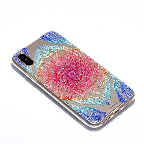 Ecoway Apple iphone X Case Cover, TPU Clear Soft Silicone Impression de la cire d'huile Housse en silicone Housse de protection Housse pour téléphone portable pour Apple iphone X - Motif 1 Motif 6