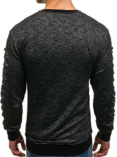 BOLF Herren Pullover Sweatshirt Langarmshirt Sport MIX Schwarz_1576