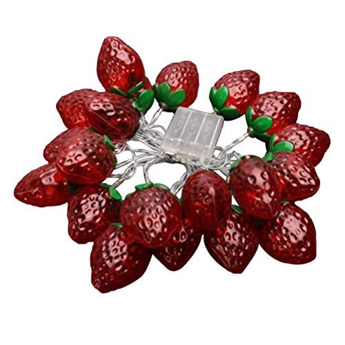 OSALADI 20 LED 3m Erdbeer-Lampenschnur beleuchtet Fruit Fairy Light für Party Schlafzimmer -