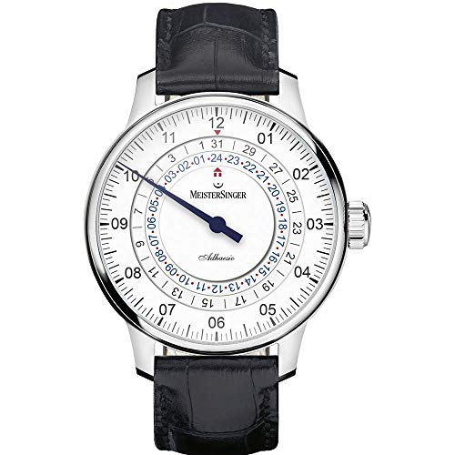 Meistersinger Men's Adhaesio 43mm Alligator Leather Band Automatic Watch AD901