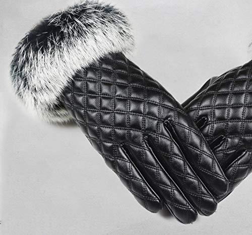 SUNHAO Frauen Handschuhe Touchscreen Haar Mund Design Winter und Herbst Hand Stricken Plüsch Erwärmung Kunstleder Handschuhe -