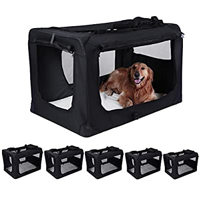 Songmics S - XXXL Folding Portable Soft Fabric Pet Carrier Black