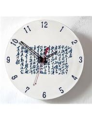 Genuino reloj de cerámica mudo sala de estar de la manera sencilla de oficina dormitorio doble personalidad, reloj, reloj de pared