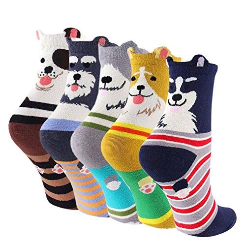 Kfnire 5 paires / 6 paires coton Chaussettes thermiques Chaussettes Adulte Unisexe Chaussettes (Chien et numéro 5 paires)