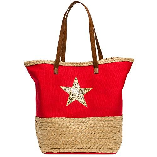 CASPAR TS1041 große XXL Damen / Familien Strandtasche / Shopper mit Bast Dekor und Glitzer Stern, Farbe:rot;Größe:One Size (Bast-shopper)