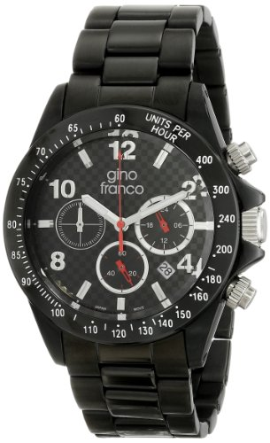 gino franco Men's 9688BK Rogue Round Chronograph Black Ion-Plated Bracelet Watch