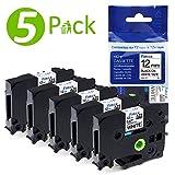 Fimax tze231 Schriftband, tz231 Etikettenbänder kompatibel für Brother P-touch Etikettiermaschine PT-1000 PT-1005 PT-1010 PT-1080 PT-h101c PT-h105 PT-100lb, schwarz auf weiß, 12mm x 8m, 5er Pack