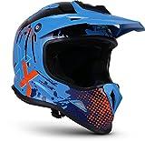 "Soxon® SKC-33 ""Fusion Blue"" · Kinder-Cross-Helm · Motorrad-Helm MX Cross-Helm MTB BMX Cross-Bike · ECE Schnellverschluss SlimShell Tasche XS (51-52cm)"