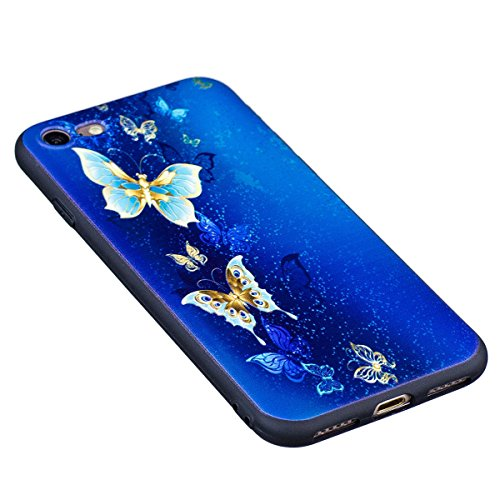 "MOONCASE iPhone 7 Coque, [Relief Pattern] Flexible TPU Protection Housse Ultra Slim Armure Anti-choc Defender Etui Case pour iPhone 7 4.7"" Butterfly Butterfly"