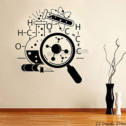 Chemie Wissenschaftler Art Sticker Wallpaper Teen Schlafzimmer Wissenschaft Vinyl Wall Applique Dekorative Wandbild Dark Grey 56x63cm -