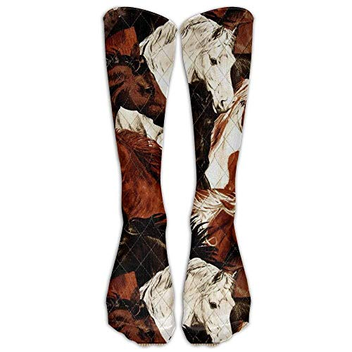 UFHRREEUR Brown White Horse Head Knee High Graduated Compression Socks for Women and Men - Best Medical, Nursing, Travel & Flight Socks - Running & ()