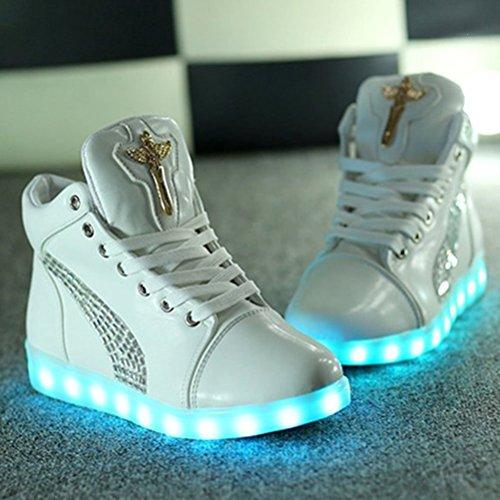 [Présents:petite serviette]JUNGLEST® Croix dange Chaussures LED Baskets Unisexe Femme Homme Argent USB Ch Blanc