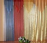 heimtexland Gardinen Schal Vorhang Organza mit Quaste+Spitze, Farbe Rot, Höhe 145cm x Breite 135cm, Universalschienenband Typ140