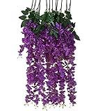 Houda künstliche Glyzinie / Blauregen-Ranke, Seidenblumen-Ranke, Blumendekoration zum selber Aufhängen für Garten und Wohnzimmer, 6 Stück violett