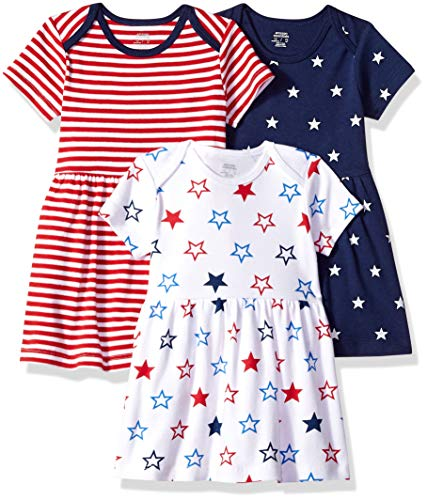 Amazon Essentials 3-Pack infant-and-toddler-dresses, Americana, 6-9M (9. Ame)