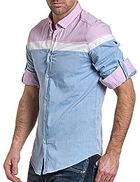 BLZ jeans - Chemise détente homme rose et bleu