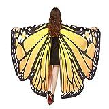 Lnefehsh Disfraz de Alas de Mariposa para Mujer,Lenfesh Adulto Mariposa Alas Chal Hada duendecillo Cosplay Capa Disfraces (168x135CM, Amarillo #1)