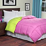 Lavish Home Reversible Down Alternative Comforter, Queen, Pink/Lime