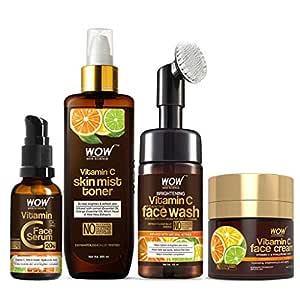 WOW Skin Science Ultimate Vitamin C Skin Care Kit - consists Vitamin C Face Wash brush, Mist Toner, Face Serum, Face Cream - 430mL