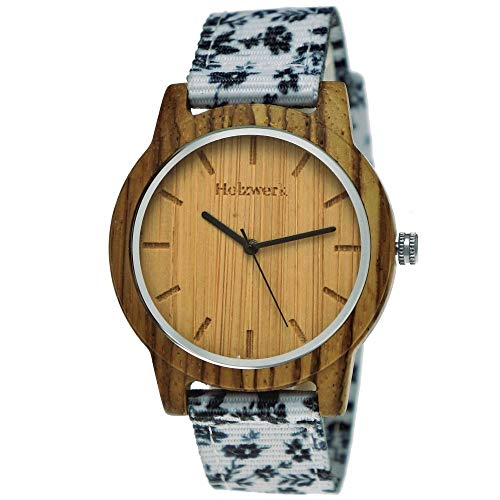 Handgefertigte Holzwerk Germany Unisex Damen-Uhr Herren-Uhr Sommer Blumen Blümchen Öko Natur-Holz Holz-Uhr Armband-Uhr Analog Holz-Armbanduhr Weiß Schwarz Braun Textil-Armband Holz-Ziffernblatt