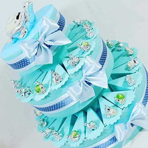 Bomboniere animali argentati a torta bomboniera per nascita, battesimo,compleanno, comunione maschietto. torta con fette + confetti + oggetti + salvadanaio ... (torta 35 fette 3 piani)