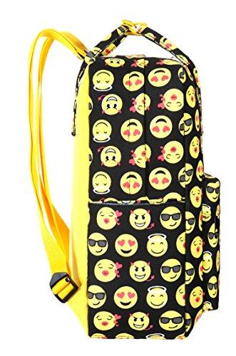 9e8d1289d978e ... Tibes Segeltuch netter Rucksack lächelnder Emoji Kind Rucksack 3pcs  stellte Schule-Beutel ein Gelb Gelb ...