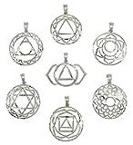 Harmonize Conjunto de 7 Terapia de Equilibrio de Chakra Símbolos Colgantes de Bronce...