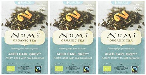 Numi Organic Aged Earl Grey – Bergamot Assam 18 Beutel, 3er Pack (3 x 36 g) – Bio