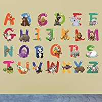 Takefuns Animals Mural Wall Stickers Alphabet Letters For Kids Rooms Removable Nursery Bedroom Wall Decals School Classroom Decor;Animals Mural Wall Stickers Alphabet Letters For Kids Rooms Removable