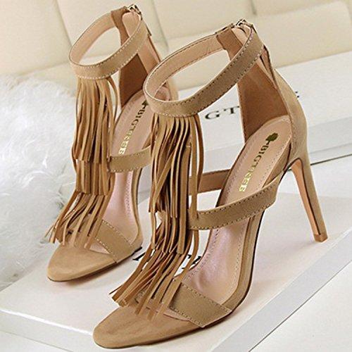 Oasap Women's Fashion Peep Toe High Heels Fringe Sandals red