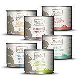 MjAMjAM - Premium Nassfutter für Katzen - Mixpaket III - Wild & Kaninchen, Pute, Ente & Geflügel, Herzen, Huhn, Rind, 6er Pack (6 x 200 g), getreidefrei mit extra viel Fleisch