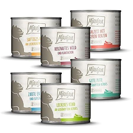 MjAMjAM – Premium Nassfutter für Katzen – Mixpaket 3 – Wild & Kaninchen, Pute, Ente & Geflügel, herzen, Huhn, Rind, 6er…