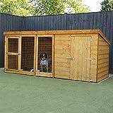 WALTONS EST. 1878 10x4 Wooden Shiplap Garden Dog Kennel & Run 10ft x 4ft