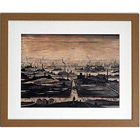 L S Lowry specialità Stampa/Immagine, Panorama industriale, su una struttura in lino, misura media, Light Oak Finish Frame With Soft White Mount And Large Image, 20 x 16inch