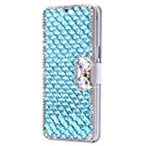 SainCat Custodia iPhone 4, Cover iPhone 4S Portafoglio Glitter, Cover Libro Bling con Strass Farfalle Antiurto Pelle Bumper Protettiva Flip Wallet Case Cover per iPhone 4/4S-Lago Blu