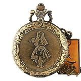 Alice im Wunderland Taschenuhr, Retro-Hasen-Getränke, Vintage-Halskette, Halskette, Herren