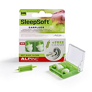 Alpine SleepSoft Ear Plugs - Reduce snoring and Improves Sleep - Soft Filters Designed for Sleeping - Comfortable Hypoallergenic Material - Reusable earplugs