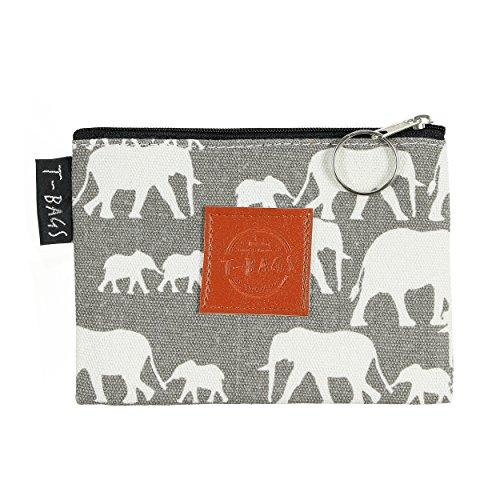 Original ♡ T-BAGS Thailand Geldbeutel | Schlüsselmäppchen | Utensilo| passend zu T-Bags Turnbeutel | hochwertig, stylisch, mit Reißverschluss | 14 coole Designs (Elefantenfamilie Mint) - Original-cool Mint