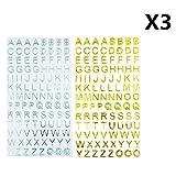 Glitzer Buchstaben Zahl 6Blatt Aufkleber, die Solide Farbe Aufkleber Alphabet Aufkleber Decals für scarpbooking Crafts–630Stücke