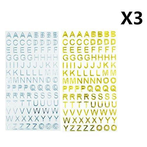 ufkleber, 6 Bögen mit einfarbigen Alphabet-Aufklebern für Scrapbooking, Basteln, 630 Stück ()