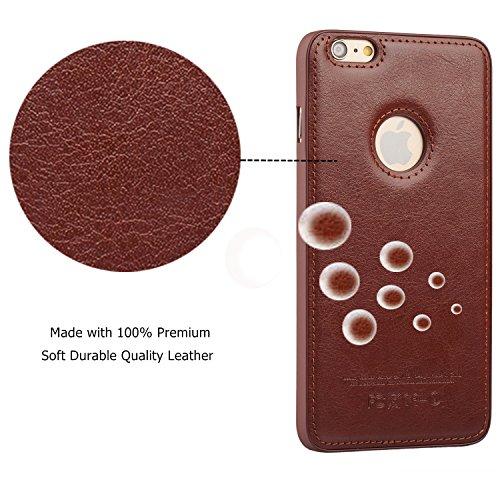 AMOVO iPhone 6s Plus Coque en Cuir à l'Envers Housse iPhone 6 Plus Étui Anti Frottement. (Blanc) Noir