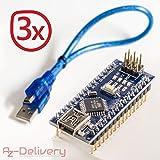 AZDelivery Nano V3.0 AVR ATmega328 P-20AU CH340 Carte Module Noir Bleu version avec câble USB, compatible avec Arduino Nano V3 à 100% 3x