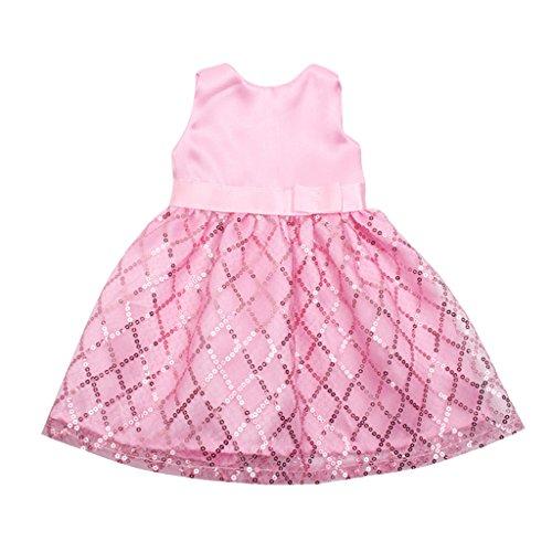 Baoblade Handgemacht Puppen Pailletten ärmelloses Kleid Prinzessin für 18 '' American Girl Puppe Kleidung Zubehör - Rosa (Kleider Für American Girl-puppen)