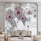 LONGYUCHEN Benutzerdefinierte 3D Seide Wandbild Tapete Floral Weichen Schlafzimmer Wohnzimmer Tv Hintergrund Wand Dekoration Wandbild,150Cm(H)×240Cm(W)