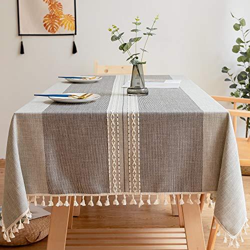Carvapet tovaglia rettangolare tovaglia lino di cotone ricamato nappa tovaglie per cucina tavolo da pranzo decorazione a buffet (doppia striscia nappa, 140x220cm)